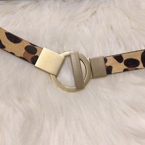 Chicos Calf Hair Belt Leopard Print Large